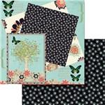 Papel Scrapbook Dupla Face 30,5x30,5cm Jardim com Borboletas Lscd-384 - Litocart