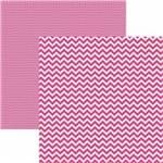 Papel Scrapbook Dupla Face Básico 30,5x30,5cm Chevron Rosa Kfsb417 - Toke e Crie By Mariceli