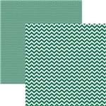 Papel Scrapbook Dupla Face Básico 30,5x30,5cm Chevron Verde KFSB410 - Toke e Crie By Mariceli