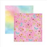 Papel Scrapbook Dupla Face Borboletas Coloridas Flores Sdf547 - Toke e Crie
