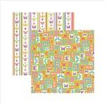 Papel Scrapbook Dupla Face Borboletas Coloridas Quadrinhos Sdf546 - Toke e Crie