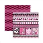 Papel Scrapbook Dupla Face Caveiras Pink Barrinhas SDF451 - Toke e Crie