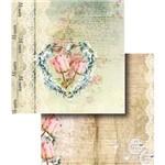 Papel Scrapbook Dupla Face Coração de Flor LSCD-328 - Litocart