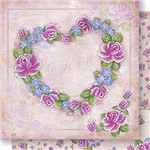 Papel Scrapbook Dupla Face Coração de Rosas SD1044 Lili Negrao - Litoarte