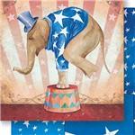 Papel Scrapbook Dupla Face Elefante de Circo Masculino SD-442 - Litoarte