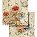 Papel Scrapbook Dupla Face Flores com Pássaro e Borboletas LSCD-330 - Litocart