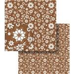 Papel Scrapbook Dupla Face Flores Marrom e Branca Lscds-011 - Litocart