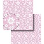 Papel Scrapbook Dupla Face Flores Rosa e Branca Lscds-009 - Litocart