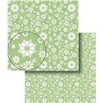 Papel Scrapbook Dupla Face Flores Verde e Branca Lscds-008 - Litocart