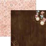 Papel Scrapbook Dupla Face Lembranças e Rosas Listrado Sdf675 - Toke e Crie