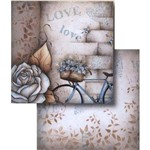 Papel Scrapbook Dupla Face Love Paris Bicicleta Lscd-334 - Litocart