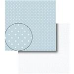 Papel Scrapbook Dupla Face Poá Bolinhas Azul e Branca Lscds-004 - Litocart