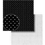 Papel Scrapbook Dupla Face Poá Bolinhas Preto e Branca Lscds-006 - Litocart