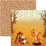 Papel Scrapbook Dupla Face Raposas do Outono Bosque Sdf683 - Toke e Crie