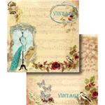 Papel Scrapbook Dupla Face Vintage com Manequim LSCD-324 - Litocart