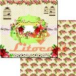 Papel Scrapbook Duplo Passarinho Flores LSCD-209 Litocart