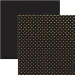 Papel Scrapbook Estrelas Dourado e Preto Sdf619 - Toke e Crie