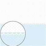 Papel Scrapbook Folha Simples 30,5x30,5cm Poá Azul Claro e Branco Lsc-273 - Litocart