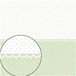 Papel Scrapbook Folha Simples 30,5x30,5cm Poá Verde Claro e Branco Lsc-275 - Litocart