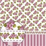 Papel Scrapbook Folha Simples Flores e Listras Lsc-251 - Litocart