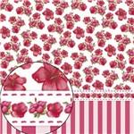 Papel Scrapbook Folha Simples Hibisco e Listras Lsc-254 - Litocart