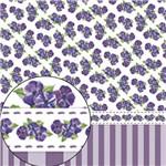 Papel Scrapbook Folha Simples Violetas e Listras Lsc-252 - Litocart