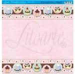 Papel Scrapbook Litoarte 30,5x30,5 SD-029 Doces Rosa Bebê