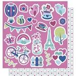 Papel Scrapbook Litoarte 30,5x30,5 SD-1002 Amor Je T' Aime Apliques e Verso