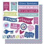 Papel Scrapbook Litoarte 30,5x30,5 SD-1003 Amor Je T' Aime Frases e Tags