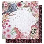 Papel Scrapbook Litoarte 30,5x30,5 SD-1010 Amor Love Story Flores e Máquina Fotográfica