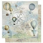 Papel Scrapbook Litoarte 30,5x30,5 SD-1073 Rosa dos Ventos Balões e Relógios