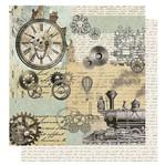 Papel Scrapbook Litoarte 30,5x30,5 SD-1070 Relógio Engrenagem