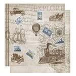 Papel Scrapbook Litoarte 30,5x30,5 SD-1074 Carros Navio e Trem