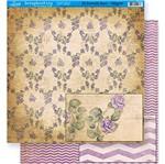 Papel Scrapbook Litoarte 30,5x30,5 SD-314 Rosas e Chevron Roxo