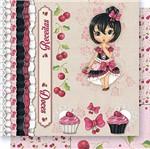 Papel Scrapbook Litoarte 30,5x30,5 SD-415 Menina Receita e Cereja Vermelha