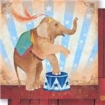 Papel Scrapbook Litoarte 30,5x30,5 SD-441 Elefante Circo Feminino
