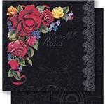 Papel Scrapbook Litoarte 30,5x30,5 SD-444 Cantoneira Rosas e Arabescos Preto