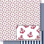 Papel Scrapbook Litoarte 30,5x30,5 SD-447 Âncoras Vermelha e Listras Azul