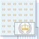 Papel Scrapbook Litoarte 30,5x30,5 SD-452 Coroa e Ramos Listras Azul