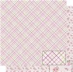 Papel Scrapbook Litoarte 30,5x30,5 SD-492 Xadrez e Rosas