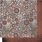 Papel Scrapbook Litoarte 30,5x30,5 SD-499 Engrenagens Marrom