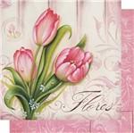 Papel Scrapbook Litoarte 30,5x30,5 SD-506 Tulipas e Arabesco Rosa
