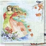 Papel Scrapbook Litoarte 30,5x30,5 SD-512 Mulher e Folhas