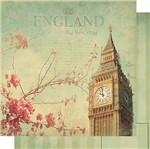 Papel Scrapbook Litoarte 30,5x30,5 SD-510 England Flores Verde