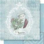 Papel Scrapbook Litoarte 30,5x30,5 SD-541 Moldura Menino e Chevron Azul