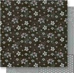 Papel Scrapbook Litoarte 30,5x30,5 SD-545 Lírios e Poá Cinza