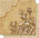 Papel Scrapbook Litoarte 30,5x30,5 SD-546 Rosas e Renda Rústico