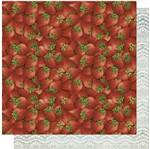 Papel Scrapbook Litoarte 30,5x30,5 SD-570 Morangos e Renda