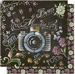 Papel Scrapbook Litoarte 30,5x30,5 SD-576 Fotos Arte em Giz