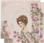 Papel Scrapbook Litoarte 30,5x30,5 SD-584 Dama Vintage e Moldura